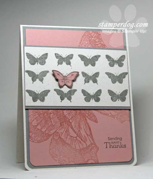 Pink Butterflies Thank You Card