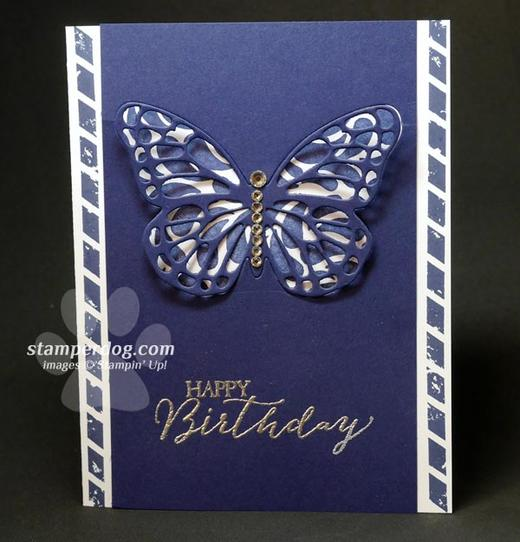 Navy Butterfly Birthdday Card