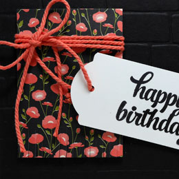 Black Birthday Card Fringed