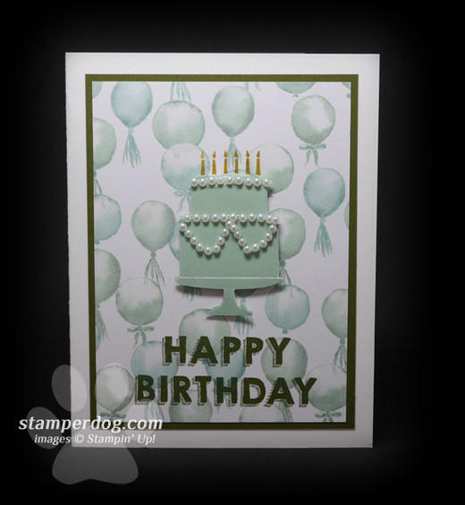Green Birthday Cake Card