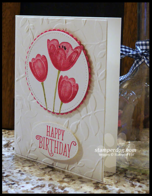 Birthday Card with Pink Tulips