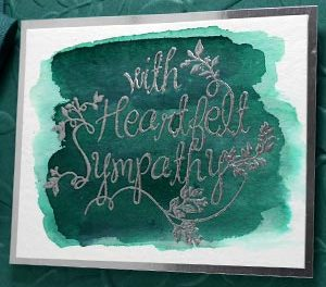 Embossed Green Sympathy Card