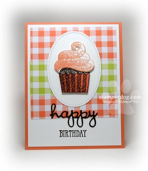 Gingham Cupcake Birthday Card